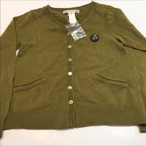 NWOT Bonpointe Green Wool Cardigan Pockets Sz 8